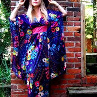 vintage 70s asian inspired purple floral maxi dress caftan kimono  big butterfly sleeves empire waist festival Stevie Nicks boho hippie