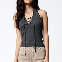 Kendall & Kylie Thermal Lace-Up Halter Tank Top at PacSun.com