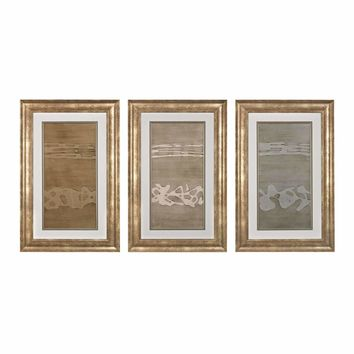 Metal Alloy In Champagne Pearl And Silver - Fine Art Giclee Under Glass With Textured Acrylic Paint