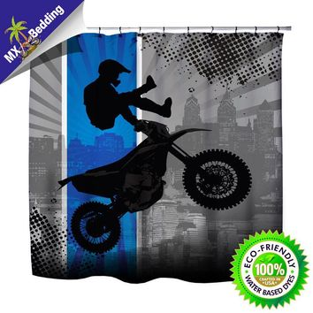"Extremely Stoked ""Dream In Extreme"" Blue Dirt Bike Motocross Shower Curtain"