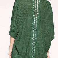 Green Knitted Cardigan with Crochet Lace Back