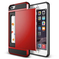 Hot ! Luxury Slim Hybrid Credit Card pocket wallet pouch Phone case PC Back Cover for Apple iPhone 6 6s 4.7'' inch cases