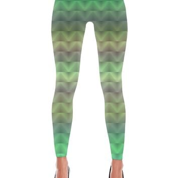 Green Triangle Holographic Printed Leggings