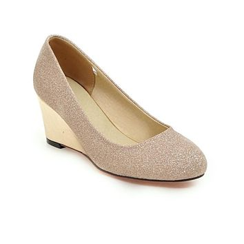 Spring Autumn Wedges Sequins Shallow Mouth Women Pumps