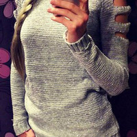 Grey Cut-out Shoulder Ribbed Knit Sweater