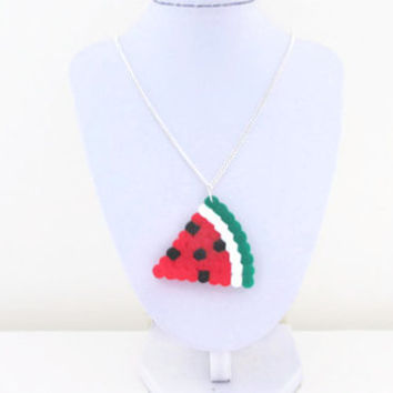 Watermelon necklace , hama perler bead kawaii jewellery on silver plated chain , uk seller