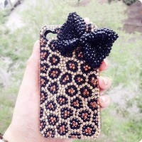 3D handmade bling crystal leopard bow for iPhone 4/4s case