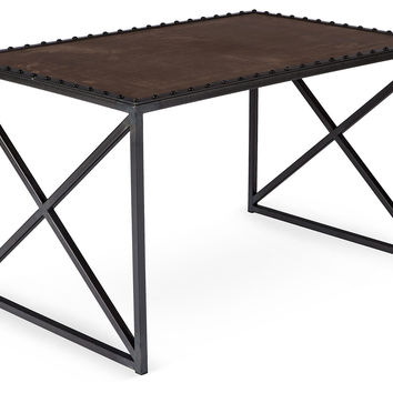 "Odeon 39"" Leather-Top Coffee Table, Iron, Cocktail Table, Coffee Table Base"