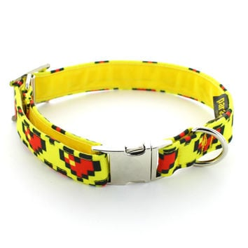8-bit Love Dog Collar. Handmade in the UK. Retro Computer Game Design. Red Hearts on Yellow Background. Velvet Lining and Metal Buckle.