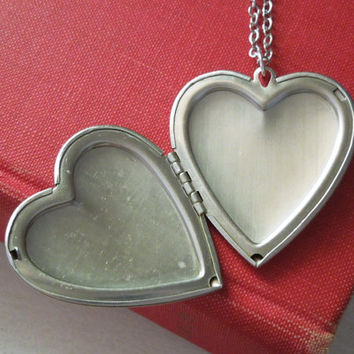 Vintage Heart Locket - Matte Silver Textured Heart Locket Pendant Necklace