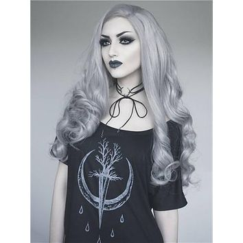 Long Young Silver Grey Wave Synthetic Lace Front Wig