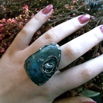Moss agate ring mocha stone ring statement ring old silver ring handmade jewelry statement jewelry old silver jewelry gift her