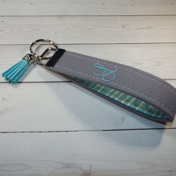 personalized Key Fob Key FOB / KeyChain / Wristlet with tassel -  Monogrammed - embroidered - gray with yellow or aqua heringbone