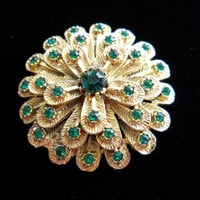 Rhinestone Flower Brooch Pin Layered Textured Gold Tone Metal Green Rhinestone Vintage