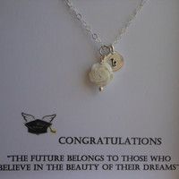 GRADUATION GIFT, Mother of Pearl Rose with Handstamped Initial Necklace, Carved Rose, Sterling Silver Initial Necklace, Personalized Gift,