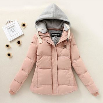 Trending Women Long Sleeve Parkas Winter Cardigan Coat Thickening Cotton Winter Hoodie Jacket Parkas Pink