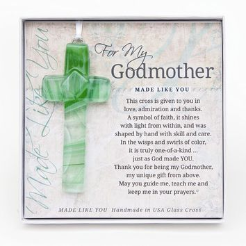Made Like You Godmother Green Cross with Ribbon - Perfect Grandparents Gift