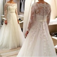 Long Sleeves Wedding Dress with Sheer Back Bridal Dress Size 0 2 4 6 8 10 12 14