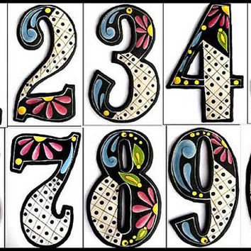 "4 House Numbers - 4 1/2"" high -Painted Numbers - Metal Art - Hand Painted Metal Address from Recycled Steel Drum - Yard Art - AD-200-4BK"