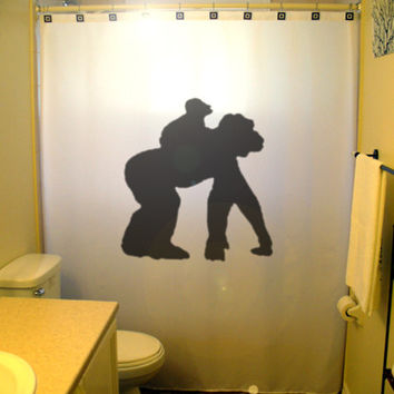 Mom Baby Gorilla Shower Curtain Kids Bathroom Decor father's day mother's monkey chimpanzee chimp cheeky funny wateproof mildew resistant