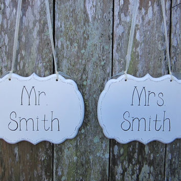 Wedding Signs / Painted Cottage Chic Personalized Mr. and Mrs. Decorative Wedding Signs / Wedding Chair Signs / Sweetheart Table Signs