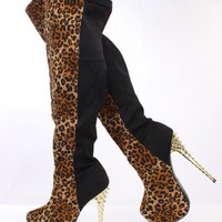 Leopard Print Two Tone Thigh High Heel Boots Faux Suede