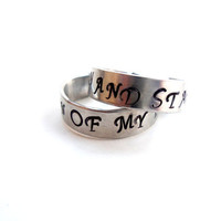 My Sun and Stars and Moon of My Life Hand Stamped Adjustable A Pair of Game of Thrones Inspired Rings Unique Gift Under 20