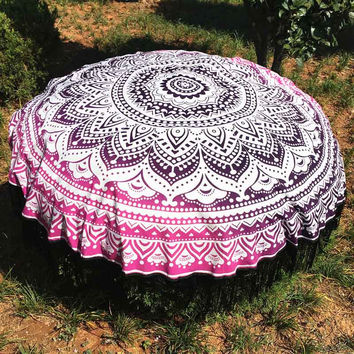 Large Cotton Blend Printed Round Beach Towel ~Tassel Circle Beach Towel Serviette Tapestry Wall Hanging A