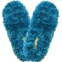 Fuzzy Footies Super Soft Slippers with Slip-Resistant Bottom (Bright Aqua)