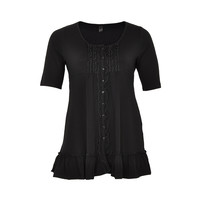 Yoek Shirt Long Frilled Front Black