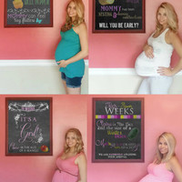 20-40 week package - Photoshopped Chalkboard Pregnancy Week Annoucment