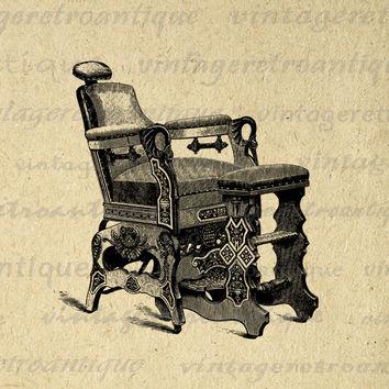 Barber's Chair Printable Digital Image Hair Salon Hairdresser Download Graphic Vintage Clip Art for Transfers Printing etc HQ 300dpi No.3683
