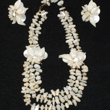 Vintage Japan Signed Mother of Pearl Clip on Earrings and Necklace Combo