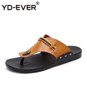 YD-EVER genuine leather men sandals handmade Summer fashion brand beach slippers casual moccasin Handmade Flip Flops