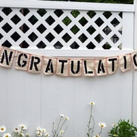 Congratulations Sign, Fabric Banner, Cloth Banner with Satin Ribbons