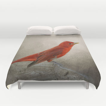 Song of the Summer Tanager 2 - Birds Duvet Cover by Jai Johnson