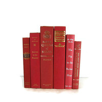 Red Vintage  Decorative Books  in Shades of  Red for Wedding Photography Props Home Decor Table Settings