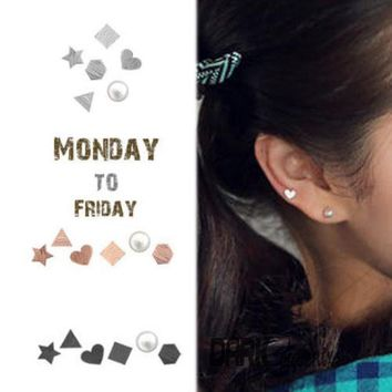 6pcs Per Set Monday To Friday Real 925 Sterling Silver Stud Earrings Set Star Heart Asymmetric Type Boucles D'oreille Women