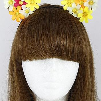 Colorful Floral Cat Ear Headband