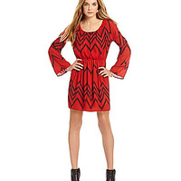 GB Chevron Bell Sleeve Dress - Red
