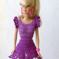 Barbie Clothes - Hand Crochet Purple Lace Dress for Fashion Dolls, Violet Barbie Doll Outfit
