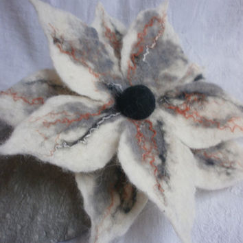 Wool felt brooch pin,gray felt flower,felt wool,silk brooch,jewelry,white flowers corsage,hair accessory,black felted brooch,scarf,hat,dress