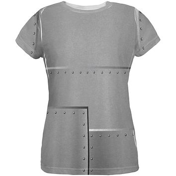 Halloween Robot Rivets Costume Steel All Over Womens T Shirt