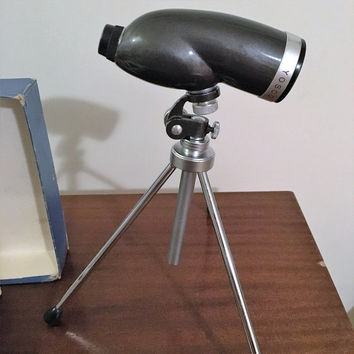 Vintage 1960s Yosco Handheld 10 Power D=60 Prismatic Telescope and Attachments / Tripod / Handgrip / Original Box/ Made in Japan