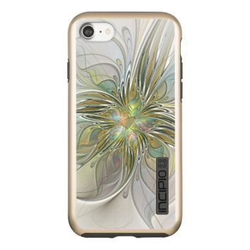 Floral Fantasy Modern Fractal Art Flower With Gold Incipio DualPro Shine iPhone 7 Case