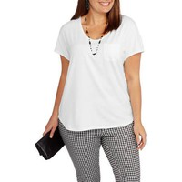 Faded Glory Women's Plus-Size Dolman Pocket Tee - Walmart.com
