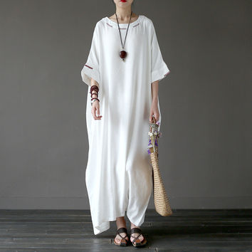 Johnature 2017 New Hand-made Embroidery Loose White Cotton Linen Plus Size Robe Half Sleeve Vintage Dress
