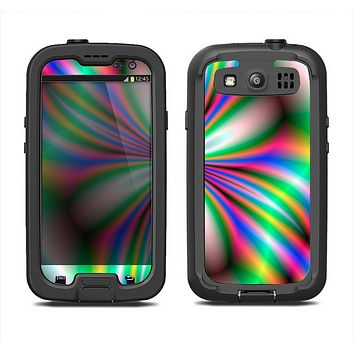 The Neon Tie-Dye Flower Samsung Galaxy S3 LifeProof Fre Case Skin Set
