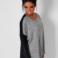Franchesca Black & Grey Leather Effect Blouse   Pink Boutique