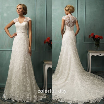 Sexy V Neck See Through Lace Corset A Line Lace Wedding Dresses 2015 New Fashion Cap Sleeve Bridal Gowns With Long Train